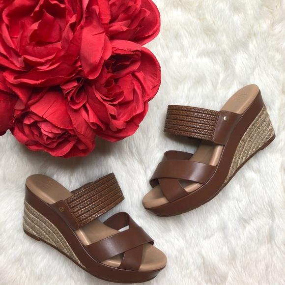 cb824d07cce UGG Adriana Leather Platform Wedge Sandal Tan NWT